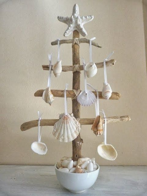 driftwood and seashell christmas tree - Coastal Christmas Tree