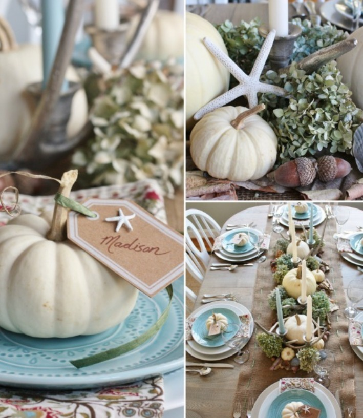 Sand and Sisal Beach Inspired Thanksgiving Centerpiece | Williamson Realty
