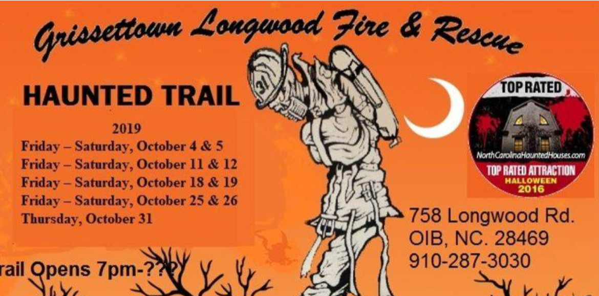 sign for Grissettown Longwood Fire & Rescue's Annual Haunted Trail | Williamson Realty