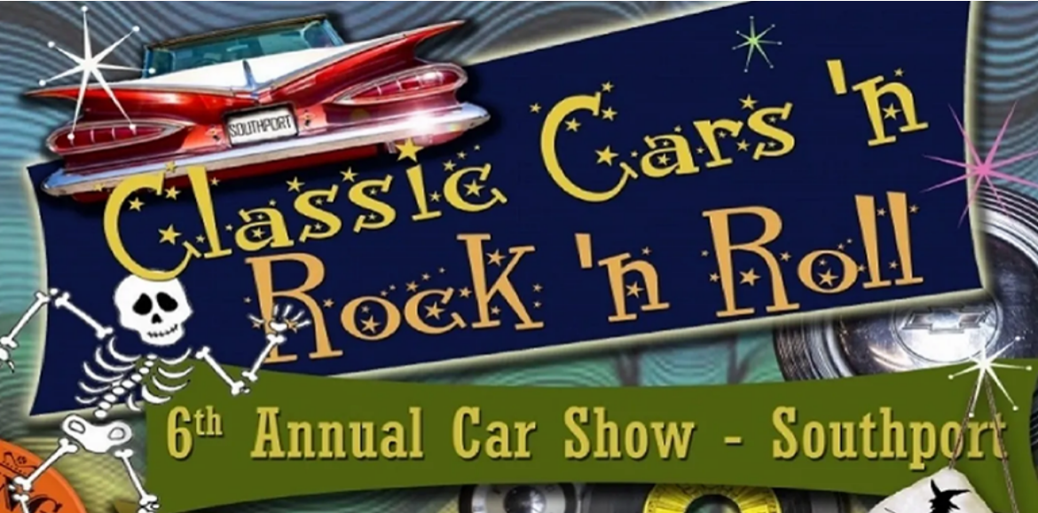 logo for Southport's classis cars n' rock n' roll event | Williamson Realty