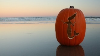 mermaid carved into pumpkin | Williamson Realty