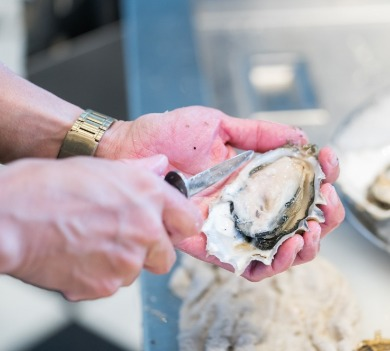 person shucking oyster | Williamson Realty