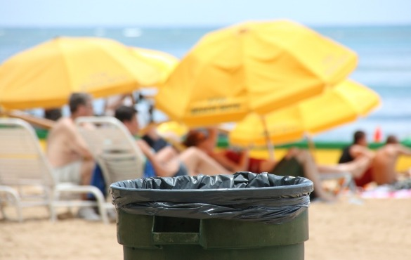 trash can on ocean isle beach  | WIlliamson Realty Vacations
